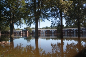 The Windgate Townhose Apartments complex was completely evacuated ahead of rising floodwaters from the Neuse River nearly a week after Hurricane Matthew made landfall.