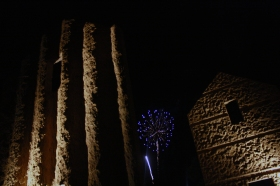 Fireworks erupt behind Flue, Thomas Sayre's newest installment in Kinston, N.C. on July 4, 2016.